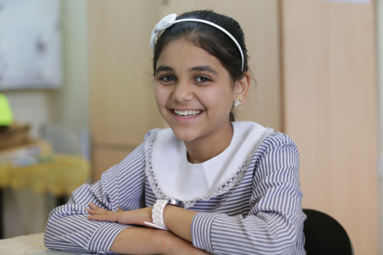 10-year-old Sali Hwihi, one of the children who participated in an ERW awareness session in the UNRWA Beit Hanoun Elementary co-ed A school in Beit Hanoun, northern Gaza. © 2016 UNRWA Photo by Tamer Hamam
