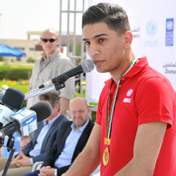 UNRWA Youth Ambassador performs at International Day for Mine Awareness event in Gaza