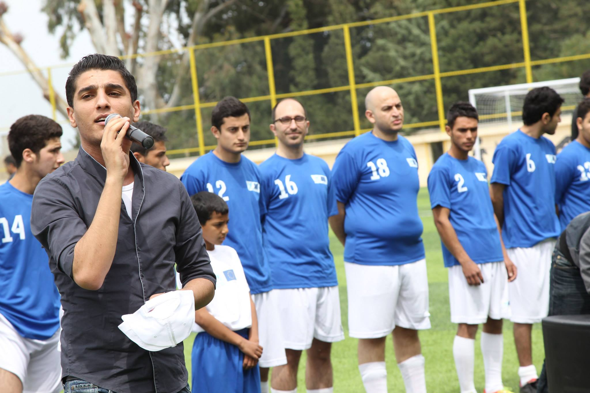 """Assaf at launch of the Siblin Training Centre football pitch"
