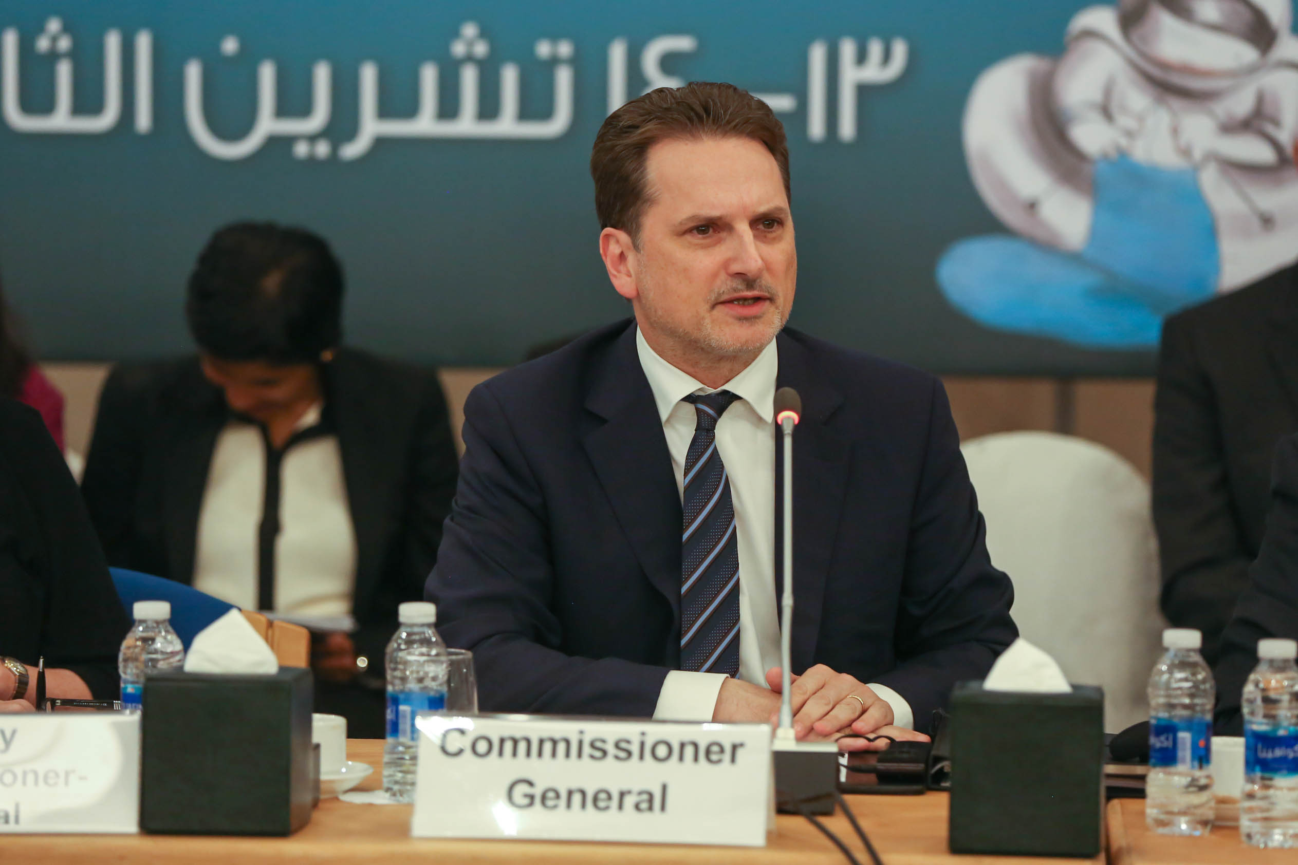 UNRWA Commissioner-General Pierre Krähenbühl addresses the Agency's Advisory Commission during a meeting at the Dead Sea in Jordan on 13 November 2017. © 2017 UNRWA Photo by Marwan Baghdadi