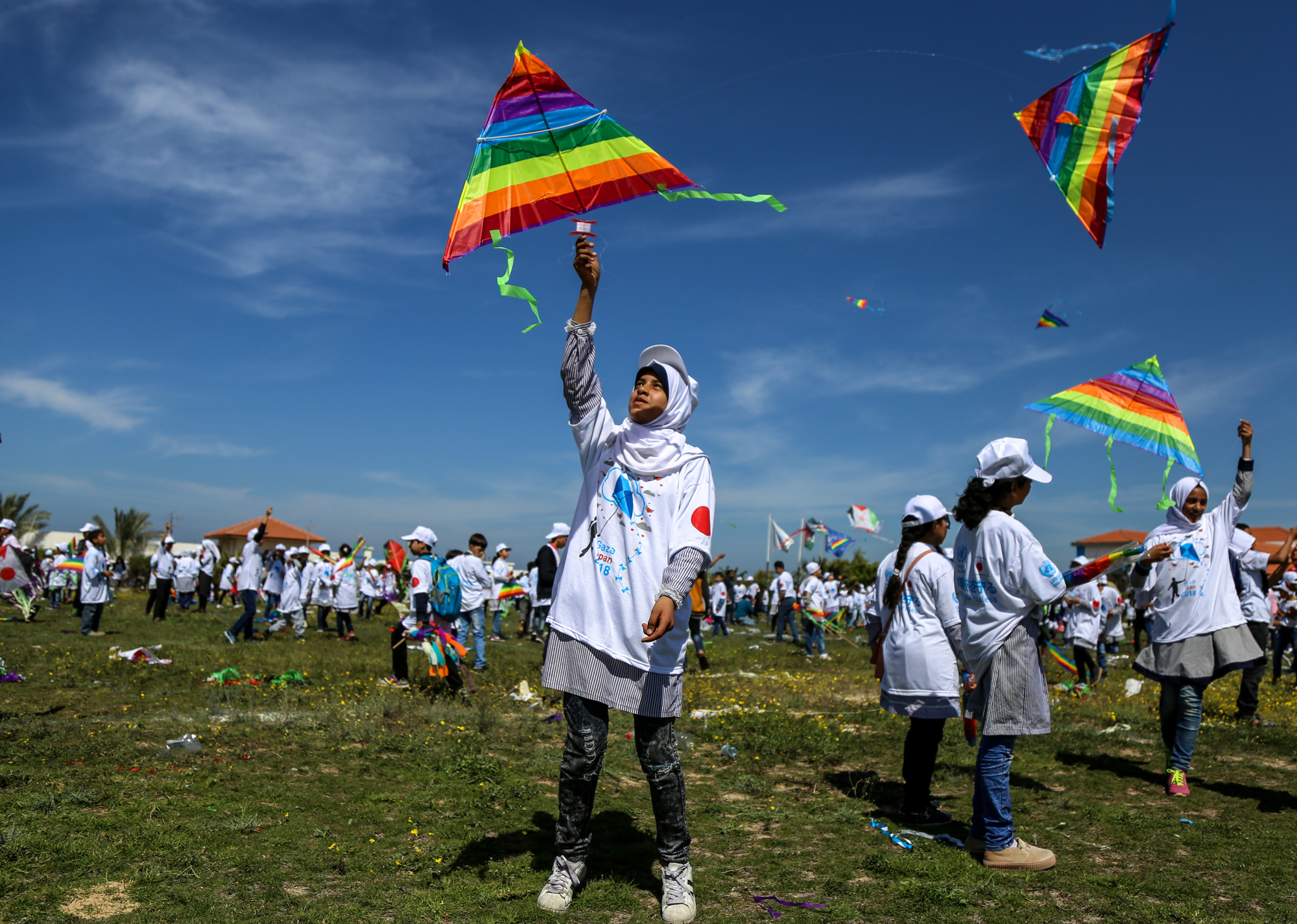 UNRWA Students Fly Kites in memory of Japanese Earthquake