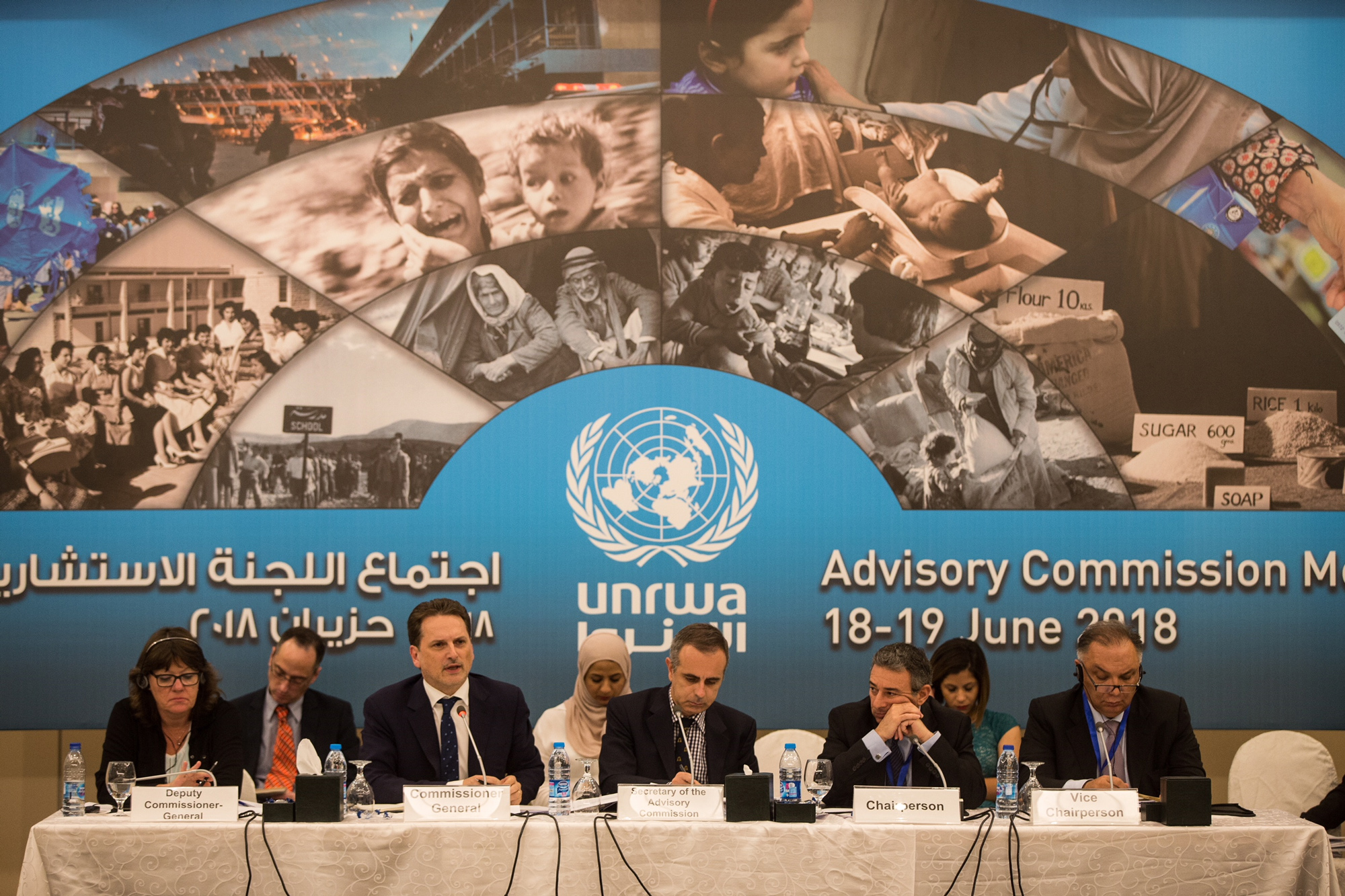 TUNRWA Commissioner-General Pierre Krähenbühl (speaking) addresses representatives of host and donor countries at the opening session of UNRWA Advisory Commission held in Jordan on 18 June 2018. © 2018 UNRWA Photo by Marwan Baghdadi
