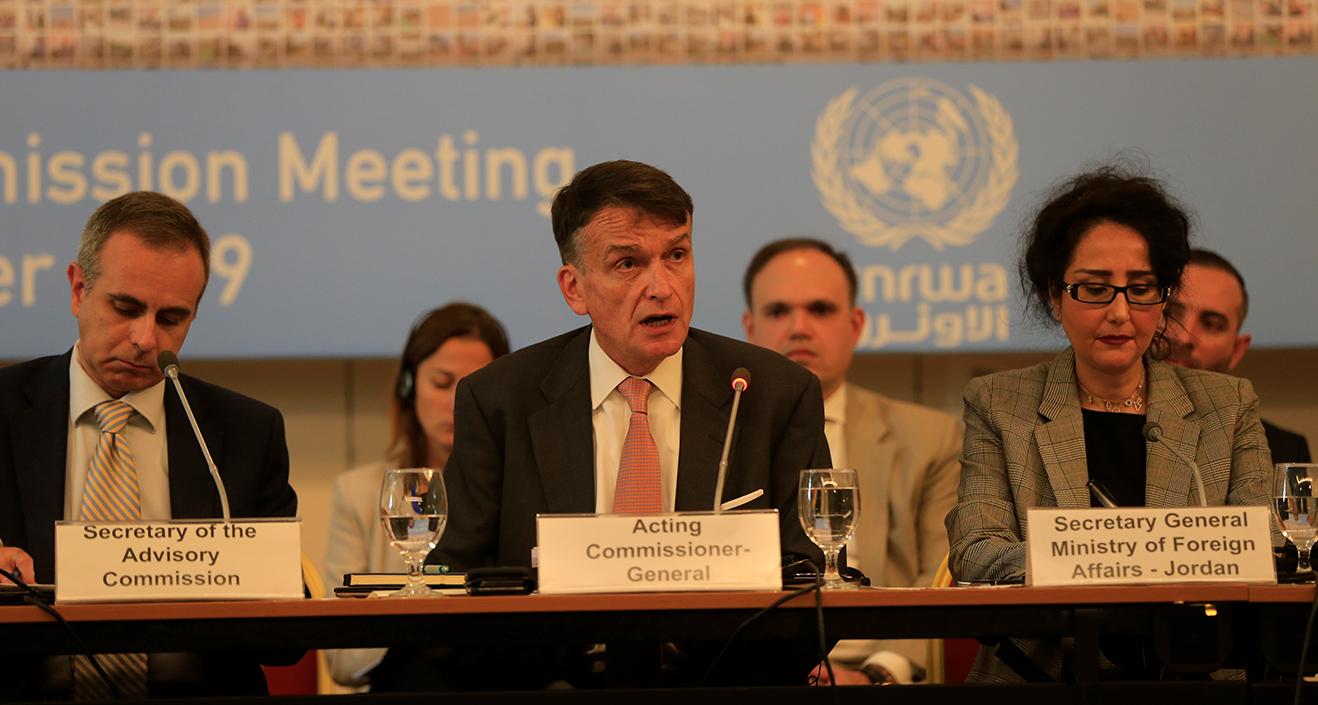 UNRWA Acting Commissioner-General Christian Saunders addresses the Advisory Commission to UNRWA in Jordan. © 2019 UNRWA photo by Marwan Baghdadi.