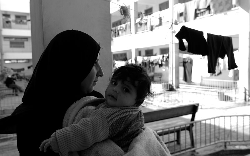 Gaza One Year Later: Felesteen Isdudi, and her baby, Suzanne, February 2015