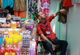Mahmoud Al Refai is exhibiting his products during the UNRWA microfinance trade fair in Gaza city. Photo credit: © UNRWA Gaza 2016. Photo by Rushdi Al-Saraj.