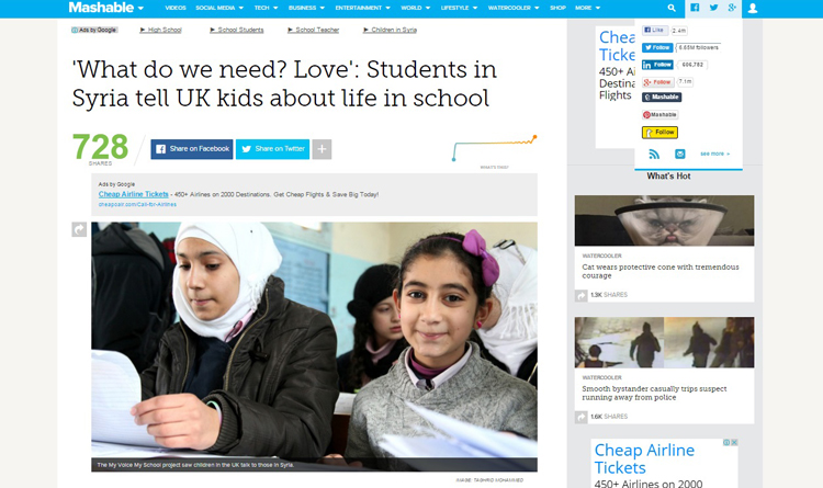 Mashable.com story on #MyVoiceMySchool