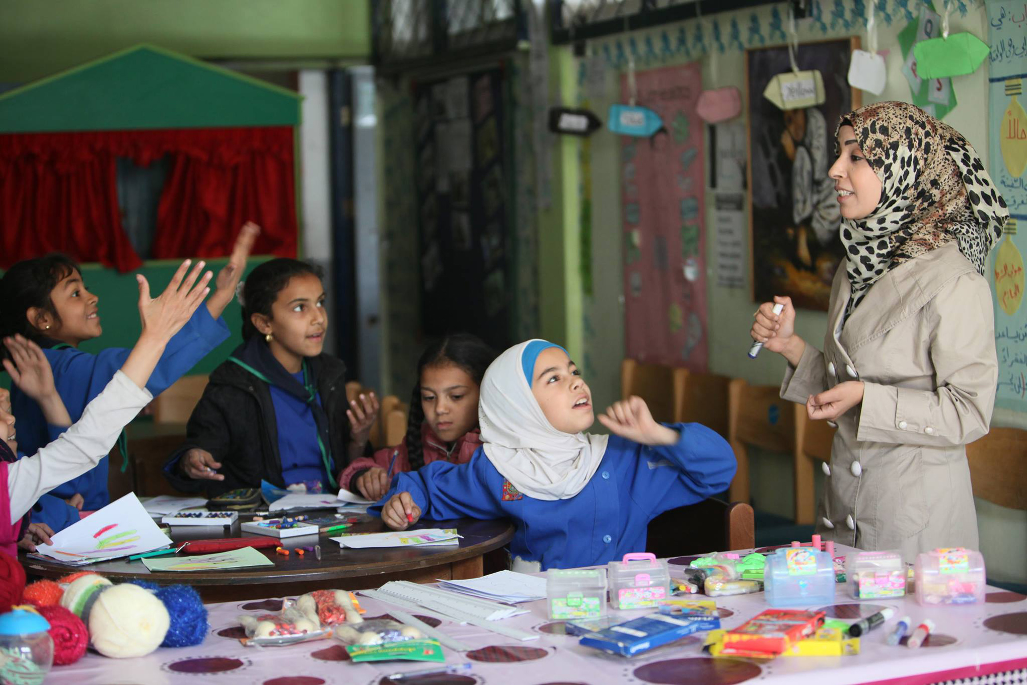 Learning activities at a Safe Learning Space in Khan Dunnoun, Syria. © 2016 UNRWA Photo by Taghrid Mohammad