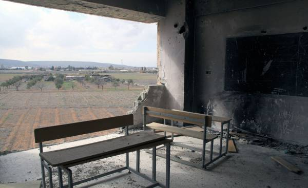 The four UNRWA schools in Husseinieh, 12 kilometers south east of Damascus, Syria, have sustained varying degrees of damage as a result of the ongoing conflict. Husseinieh, February 2015. © 2015 UNRWA Photo by Taghrid Mohammad