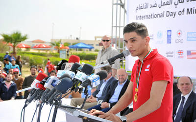 """UNRWA Youth Ambassador performs at International Day for Mine Awareness event in Gaza"