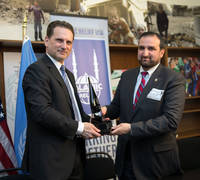 UNRWA Commissioner-General Pierre Krähenbühl meets IR USA Chief Executive Officer Mr. Anwar Ahmed Khan. Washington, D.C. March, 2015. © 2015 UNRWA photo by Sarah Lord