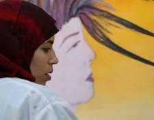 Men and women celebrate International Women's Day in Gaza