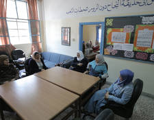 """As a Principal, I have to meet with the teachers and parents on a regular basis in order to share information, discuss the students and school issues, and convey instructions,"" explained Siham Hamam, principal of the UNRWA Qusor Girls' School (second from left). ""Here in Qusor School, it is simply almost impossible to conduct such constructive meetings, as the space is neither sufficient nor proper."" © 2016 UNRWA Photo by Ahmad al-Ameen"
