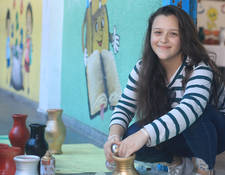 """I like to join art sessions! I colour so many things with my friends. We have such a great time making colourful shapes and painting on ceramic pots!"" Batoul Al- Habeel, 13 years-old, an eight-grade student at the UNRWA Asma Prep Girls ""A/B"". © 2019 UNRWA Photo by Ibraheem Abu Oshaiba."