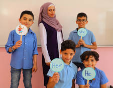 "Ibthal Abu Libda, 24, is a student at the UNRWA Faculty of Educational Sciences (RMTC) and is implementing her graduate thesis on building English language skills of elementary school students. She has worked as an UNRWA English teacher for more than a year and is currently a substitute at an elementary school in Ramallah where she introduced an innovative approach to language learning through focused study of the alphabet and a reliance on simple self-designed tools like colourful cards and activity worksheets.  ""Our professors focused on developing teaching methods and comparing them to old ones, especially Mr. Osama Abul Baha, who helped me build my graduation thesis, as well as others. I am thankful because for each stage in my life, I had a number of influencers to guide me through my career and I am grateful to them all"" Ibtihal said. "". ."