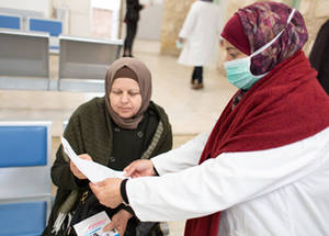UNRWA has provided a COVID-19 factsheet with useful information on how to prevent the spread of the virus at the health center, at home and around the community. This factsheet is given to patients upon arrival at the clinic and many stated that they take this information back to their communities to share. Regular cleaning and disinfecting takes place twice a day at the health centre. UNRWA and the EU encourage a holistic approach to addressing the threat of coronavirus with Palestine refugees, with awareness-raising being an essential tool. © 2020 UNRWA Photo by Louise Wateridge