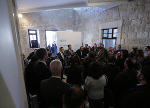 UNRWA Commissioner-General Pierre Krähenbühl talks to the media at the opening of the exhibition. © UNRWA Photo by Alaa Ghosheh