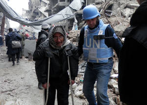 Yarmouk residents have limited access to healthcare. Yarmouk's main hospital has been damaged by shelling and is severely understaffed, with no medicine or medical supplies. © 2014 UNRWA Photo