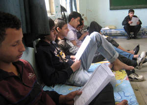 The youth of Yarmouk must not be denied a future. In May 2014, ninth-grade boys boarded for a week at an UNRWA school in Alliance to take their national school exams. Upon completion, they returned to Yarmouk. © 2014 UNRWA Photo
