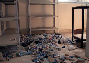 UNRWA health centres have not been spared from looting. The pharmacy at the UNRWA health centre in Husseinieh has been emptied of its drugs and medicines. Husseinieh, February 2015. © 2015 UNRWA Photo by Taghrid Mohammad