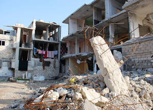 Neirab camp is located 13km south-east of Aleppo. The camp has sustained damage during the four-year conflict in Syria. December 2014. © 2014 UNRWA Photo