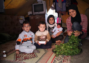 This mother cooks fresh vegetables from the market for her children. Critically, cash and food assistance keeps important family and cultural traditions. © 2014 UNRWA Photo by Taghrid Mohammad.