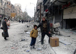 Due to the security situation in Syria, some families are unable to access markets or cash distribution points. In January 2015, UK Aid funding provided UNRWA with 400 winter clothing kits for particularly vulnerable families, including those in the besieged neighbourhood of Yarmouk. © 2014 UNRWA Photo.