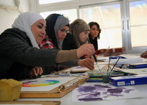 Vocational training helps displaced Palestine refugee youth develop skills and confidence, which are essential to ensure a rapid post-conflict recovery. These young women are taking part in the Engaging Youth programme at the Damascus Training Centre. © 2014 UNRWA Photo by Taghrid Mohammad