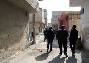In February 2015, UNRWA re-entered Husseinieh for the first time in 18 months. Personnel assessed damage to the nine UNRWA installations in the area. © 2015 UNRWA Photo by Taghrid Mohammad