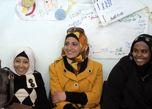 Community members take part in a food safety information session at the Women's Programme Centre in Baqa'a refugee camp in Jordan. All UNRWA outreach activities are held in close cooperation with host countries and with the support of other stakeholders, such as UNRWA donors. The largest single country donor supporting UNRWA services to Palestine refugees is the Government of the United States. © UNRWA Photo