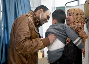 The 12 health points run by UNRWA, such as this one in Jaramana Collective Shelter, offer outpatient medical consultations, continuity of care for chronic diseases and prescription services. © 2015 UNRWA Photo by Taghrid Mohammad