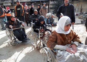 UNRWA runs a health point in besieged Yarmouk when staff and their supplies are allowed into the area. Due to restrictions on access to the camp, during the first three months of 2015 UNRWA was able to operate the health point on only 13 days, providing 1,198 consultations. © 2015 UNRWA Photo by Taghrid Mohammad