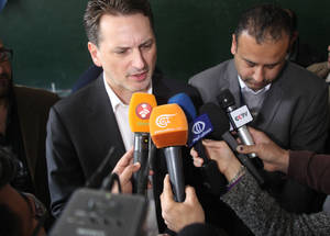 "Following his meeting with civilians from Yarmouk, Mr Krähenbühl reiterated the commitment of UNRWA to Palestine refugees within Yarmouk and across Syria, saying ""I am deeply moved by the dignity of Palestine refugees in the face of adversity. More than ever UNRWA will stand by Palestine refugees in this most critical time.""    © 2015 UNRWA Photo taken by Taghrid Mohammad ."