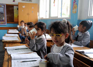 With IRUSA support, UNRWA provided Palestine refugee school children with snacks during their learning day in 2012/2013 to help ensure young minds are able to focus whilst studying. © 2013 UNRWA photo by Shareef Sarhan