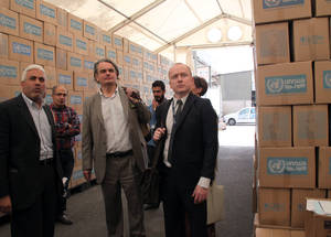 AdCom chair Per Orneus visits an UNRWA Procurement and Logistic Compound, in Syria. © 2015 UNRWA Photo by Taghrid Mohammed