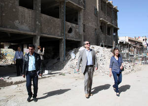AdCom chair Per Orneus visits destroyed UNRWA facilities in Syria. © 2015 UNRWA Photo by Taghrid Mohammed