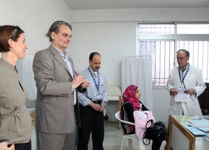 AdCom chair Per Orneus visits an UNRWA clinic at Qabr Essit Camp, in Syria. © 2015 UNRWA Photo by Taghrid Mohammed
