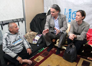 AdCom chair Per Orneus visits an UNRWA-managed collective shelter in Syria. © 2015 UNRWA Photo by Taghrid Mohammed