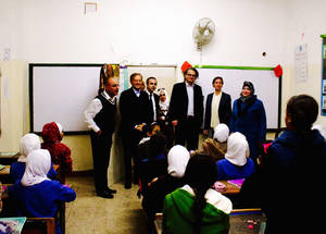 AdCom chair Per Orneus visits Jabal Zohour Preparatory Girls School in South Amman, Jordan. © 2015 UNRWA Photo by Lorenzo Guicciardini