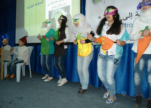 Palestine refugee students took part in a performance demonstrating the importance of eating a varied diet incorporating a wide range of fruit and vegetables. UNRWA Damascus Training Centre, April 2015. © 2015 UNRWA Photo