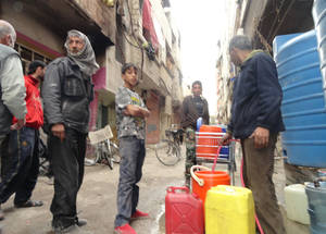Access to water has been a daily struggle since the water mains reportedly stopped functioning in September 2014. April 2015. © 2015 UNRWA Photo by Rami al Sayyed