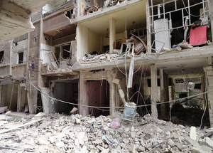 The level of destruction of people's homes and livelihoods inside Yarmouk is shocking. April 2015. © 2015 UNRWA Photo by Rami al Sayyed