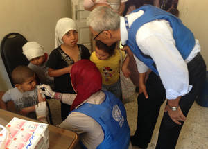 On 9 May, UNRWA vaccinated 14 children displaced from Yarmouk against tetanus, hepatitis, tuberculosis and diptheria. ©UNRWA 9 May 2015.