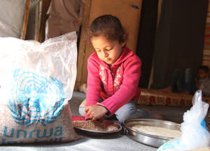 "Nadia's three-year-old daughter Bayan enjoys helping her mother cook. ""Before making mujadara, Bayan likes to pick over the lentils to remove debris,"" explains Nadia. ""She feels like she is accomplishing something."" © 2015 UNRWA Photo by Taghrid Mohammad"