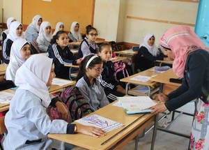 Iman says she decided to implement an anti-bullying programme with grade five students because children at this age can be extremely competitive, with overachievers sometimes unintentionally bullying classmates who face learning difficulties. © 2015 UNRWA Photo by Abdul Nasser Al-Saadi