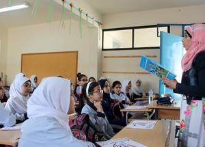 No Bullying Day also allowed Palestine refugees from Syria to speak about their feelings and experiences after being forced to leave behind their homes, schools and lives. © 2015 UNRWA Photo by Abdul Nasser Al-Saadi