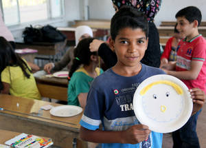 EU funding contributes to giving Palestine refugee children the opportunity to focus on their education despite insecurity and conflict. Thanks to EU funding, 43,000 children will receive back-to-school kits to help them be better equipped for the 2015/16 school year. Damascus, August 2015. © 2015 UNRWA Photo by Taghrid Mohammad