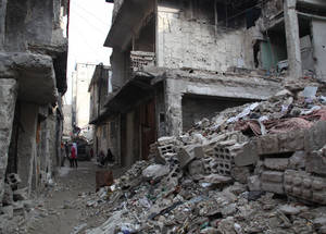 Syria's economy and infrastructure is in a state of near-collapse, which has had a catastrophic impact on civilians. In 2014, unemployment reached 58 per cent, and four out of five Syrians lived below the poverty line. Infrastructure, including water, sanitation and electricity, has been widely damaged. © 2014 UNRWA Photo by Taghrid Mohammad