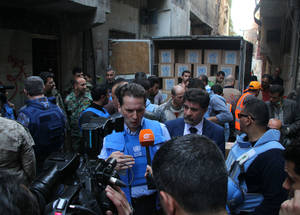 On 5 March 2015, UNRWA was able to resume food distributions for the first time since 6 December 2014. The Agency distributed food parcels to 4,463 families within 14 days. UNRWA Commissioner-General Pierre Krähenbühl visited Yarmouk on 10 March to meet with some of the 18,000 Palestine refugees trapped in the area and reiterated the Agency's determination to provide them with much-needed assistance despite the ongoing conflict in Syria. Yarmouk. © 2015 UNRWA Photo by Taghrid Mohammad