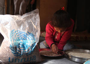 Most Palestine refugee families in Syria struggle daily to put food on the table. In July 2015, UNRWA distributed food parcels to hundreds of Palestine refugee families via 15 distribution centres in the Damascus area, Dera'a, Neirab, Homs, Latakia and Aleppo and via different collective shelters. Each food parcel is sufficient to feed a family of four for 10 days. Syria © 2015 UNRWA Photo by Taghrid Mohammad