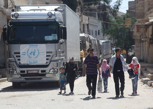 Around 6,000 Palestine refugee families were allowed to return to Husseiniyeh following their displacement in the summer of 2013 due to armed violence. UNRWA was able to resume most of its services in the area in August. Husseiniyeh © 2015 UNRWA Photo by Taghrid Mohammad
